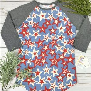 Lularoe Blouse Randy Red White Blue Stars Tee